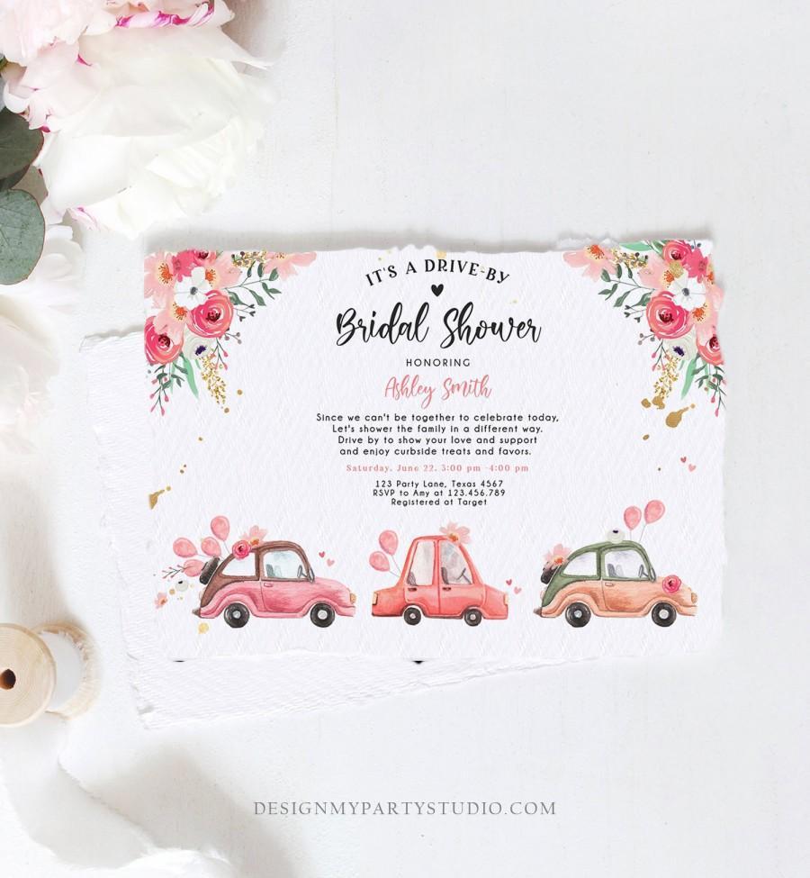 Wedding - Editable Drive By Bridal Shower Invitation Couples Shower Invite Quarantine Drive Trough Floral Wedding Shower Template Download Corjl 0335