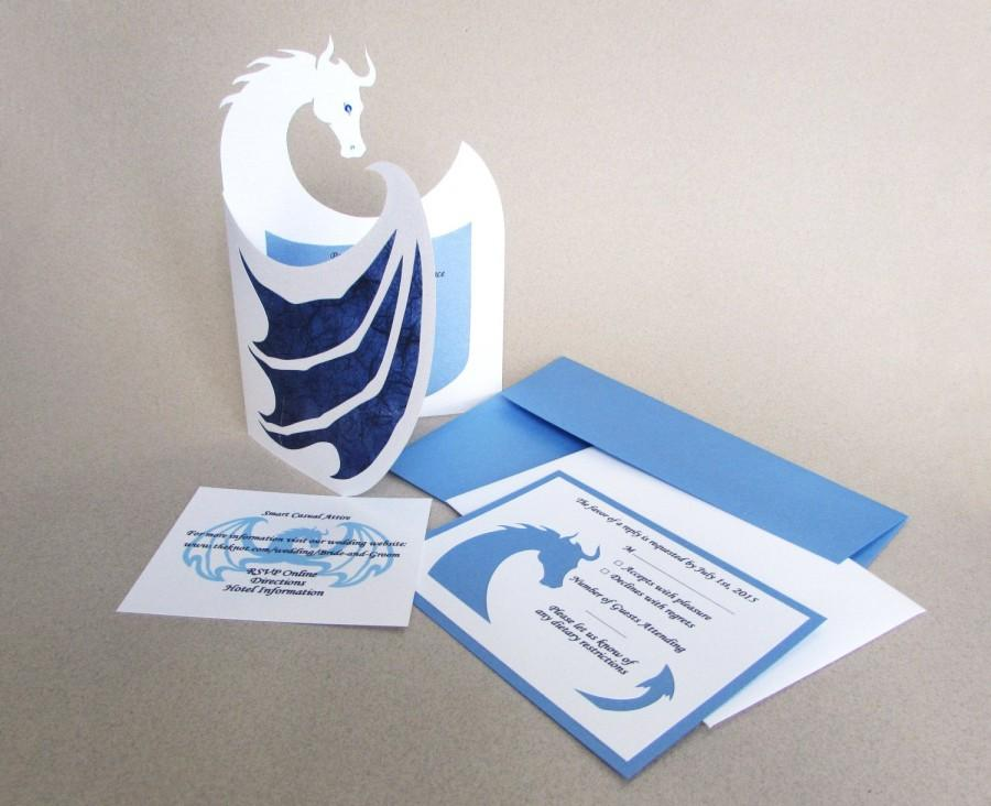 Wedding - Wedding INVITATION SET Medieval Fantasy Renaissance Dragon Custom Invite