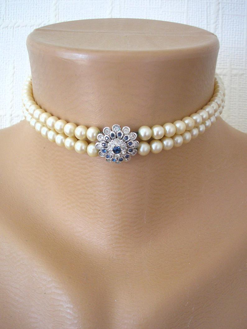 Wedding - Vintage Attwood & Sawyer Pearl Choker, Montana Sapphire Jewelry, Bridal Necklace, 2 Strand Pearls, Cream Pearls, Vintage Bridal