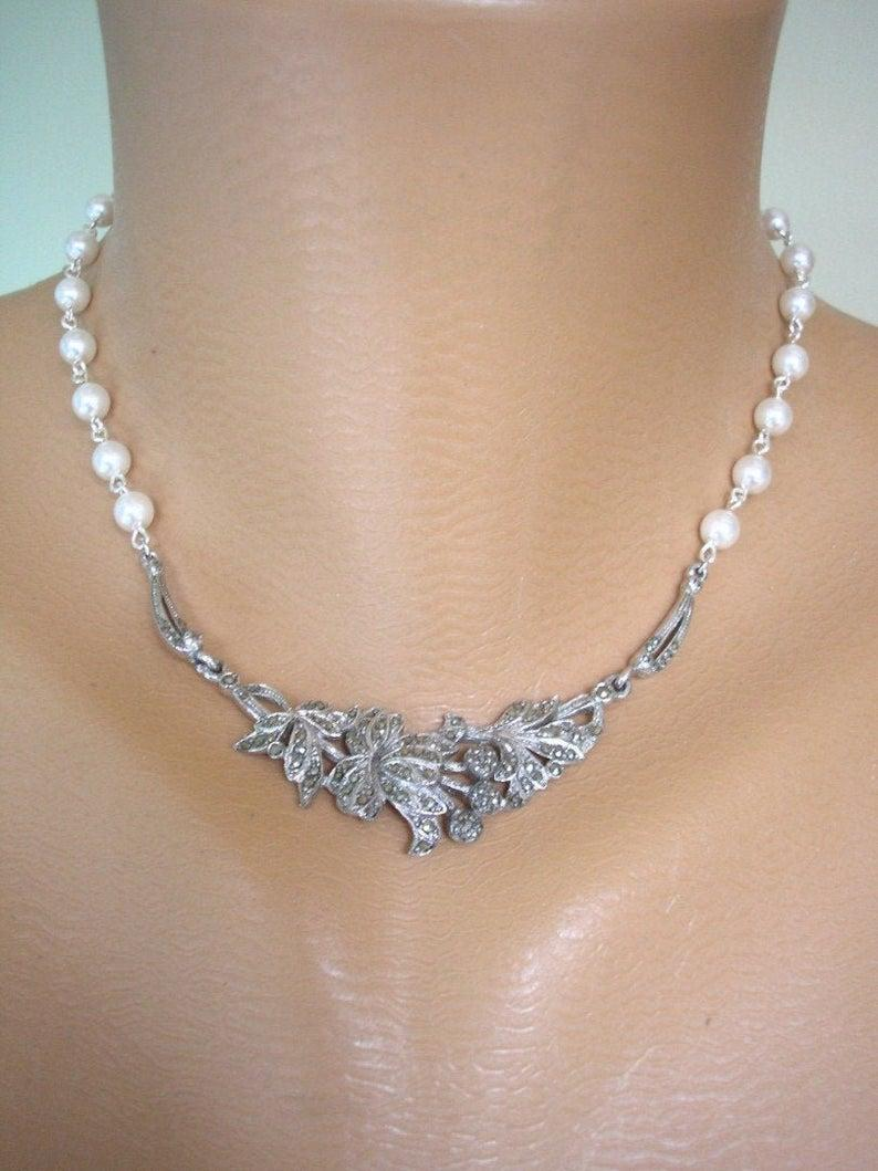 Wedding - Upcycled Vintage Marcasite Necklace
