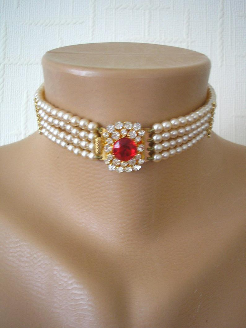 Wedding - Vintage Pearl Choker, Ruby Pearl Choker, Pearl Bridal Choker, Indian Bridal Choker, Bridal Jewelry, Gatsby Wedding, Art Deco Wedding