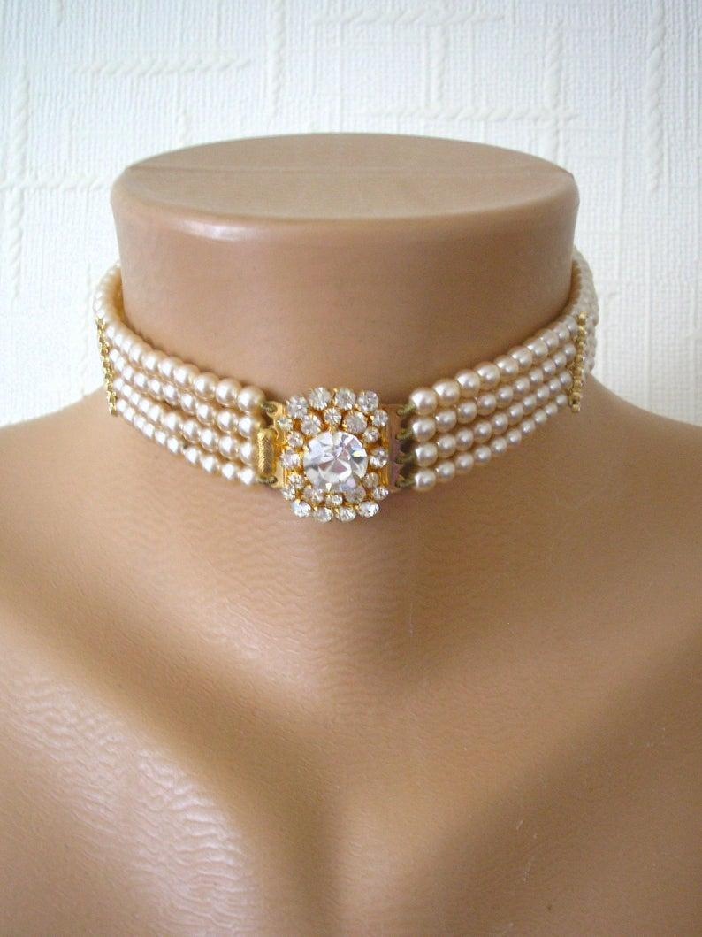 Wedding - Vintage Pearl Choker, Diamond Pearl Choker, Pearl Bridal Choker, Indian Bridal Choker, Bridal Jewelry, Gatsby Wedding, Art Deco Wedding