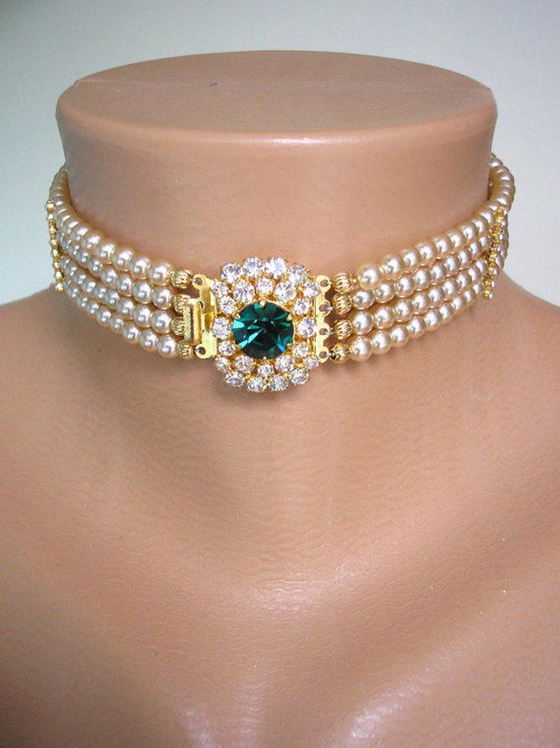 Wedding - Vintage Pearl Choker, Emerald Pearl Choker, Pearl Bridal Choker, Indian Bridal Choker, Bridal Jewelry, Gatsby Wedding, Art Deco Wedding