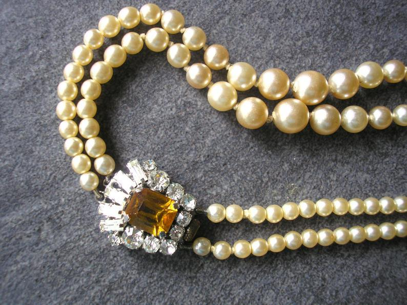 Wedding - Vintage Pearl Necklace With Citrine Rhinestone Side Clasp, Ivory Pearls, Wedding Jewelry, Bridal Necklace, 2 Strand, Vintage Bridal Pearls