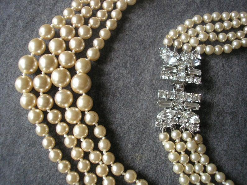 Wedding - 4 Strand Pearl Necklace, Vintage Cream Pearl Necklace, Multistrand Pearls, Bridal Pearls, Pearls With Side Clasp, Great Gatsby Pearls, Deco