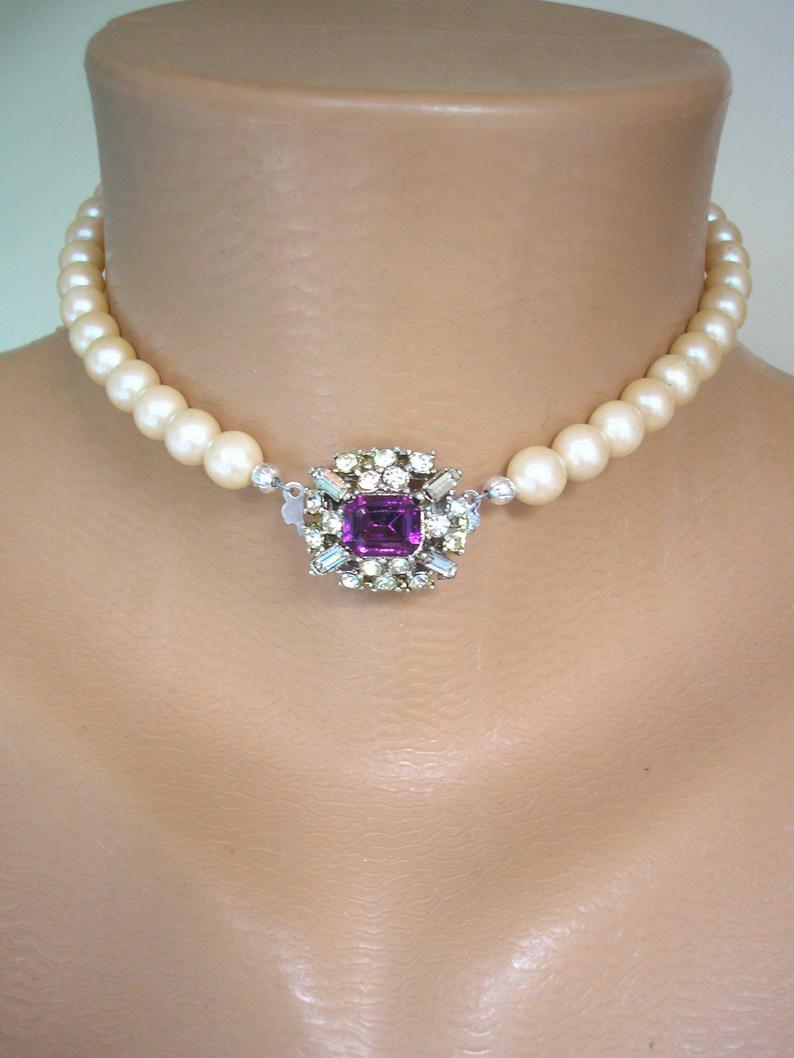 Wedding - Vintage Pearl Choker, Pearl And Amethyst Choker, Upcycled Vintage Jewelry, Art Deco Style, Cream Pearls, Deco Wedding, Repurposed Jewelry