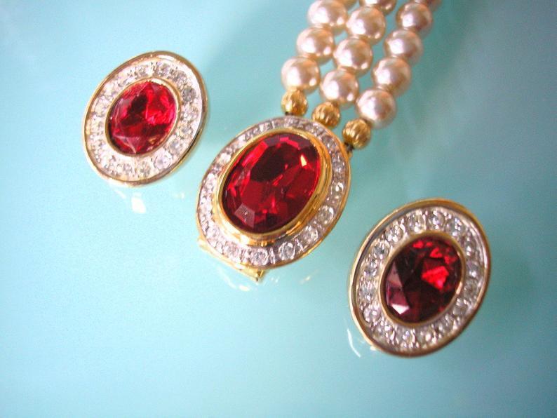 Wedding - Pearl and Ruby Bridal Set, Pearl Choker, SPHINX, Wedding Pearl Necklace, Bridal Necklace, Gatsby, Art Deco, Pearl And Rhinestone, Downton