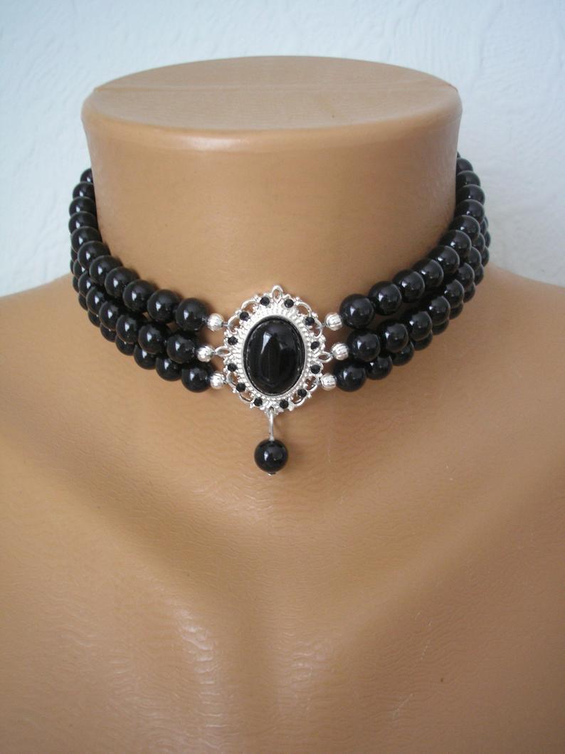 Wedding - Black Pearl Choker, Swarovski Mystic Black Pearls, Onyx, Indian Choker Necklace, Downton Abbey, Pearl Bridal Necklace, Black Jewelry