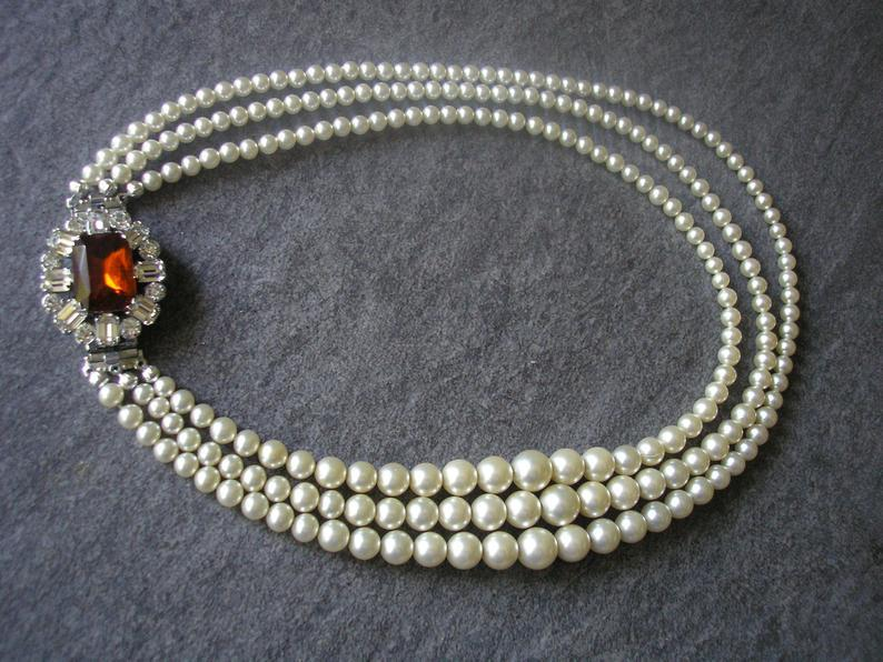 Wedding - Vintage Pearl Choker With Side Clasp, Vintage Pearl Necklace, Cognac Topaz And Pearl, Vintage Bridal Pearls, Bridal Necklace, Fall Wedding