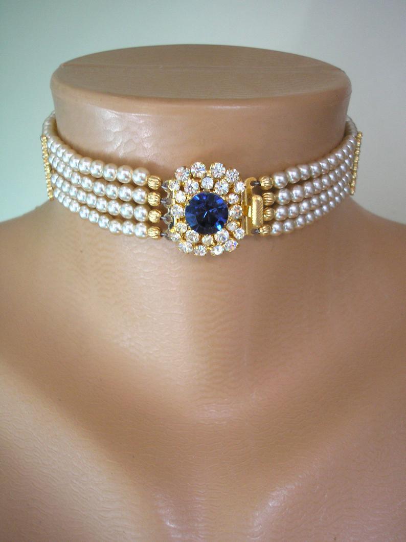 Wedding - Vintage Pearl Choker, Sapphire Pearl Choker, Pearl Bridal Choker, Indian Bridal Choker, Bridal Jewelry, Gatsby Wedding, Art Deco Wedding