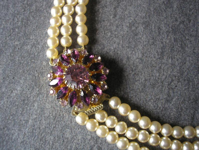 Wedding - Amethyst And Pearl Necklace With Side Clasp, Vintage Pearl Choker, Statement Necklace, Pearl Collar, Wedding Necklace, Bridal Jewelry