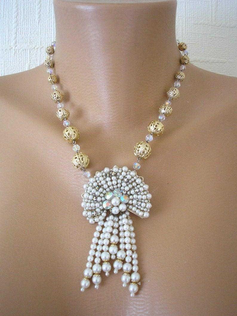 Wedding - Downton Abbey Jewellery, Pearl Tassel Necklace, Filigree Necklace, Vintage Filigree Pearl Necklace, Aurora Borealis, Vintage Bridal, Nouveau