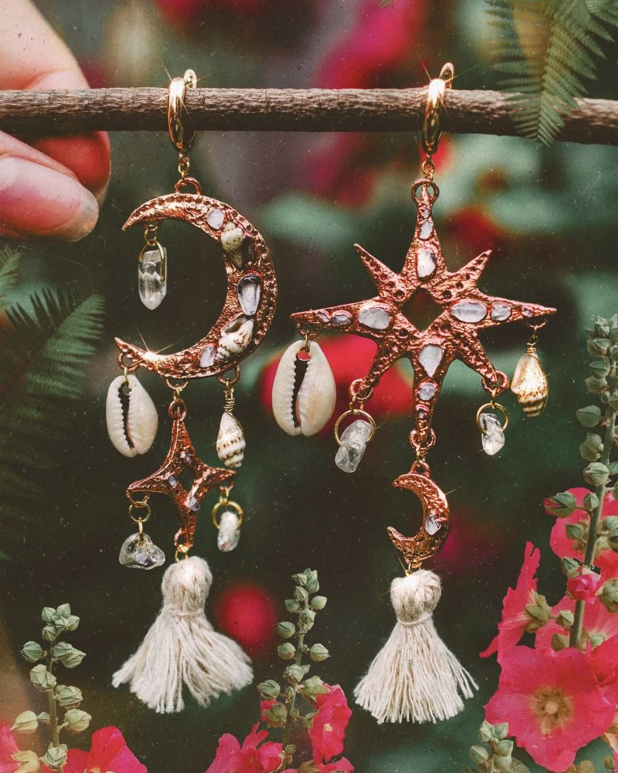 Mariage - Celestial Earrings Bohemian copper jewelry with shells, amethyst and rose quartz and quartz crystals. Boho, gipsy, hippie style art