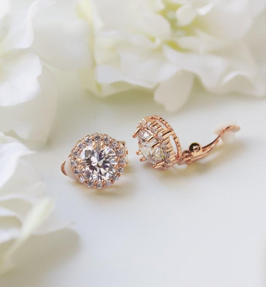 زفاف - Rose Gold Clip On Earrings, Rose Gold Studs, Bridal Jewelry, Round Crystal Earrings, Wedding Jewelry, Bridal Earrings, E333CLIP