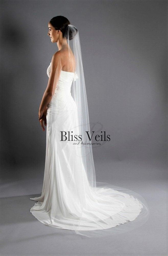 Wedding - Sheer Narrow Veil - One Layer Raw Edge - Multiple Length & Color Options, Fast Shipping!