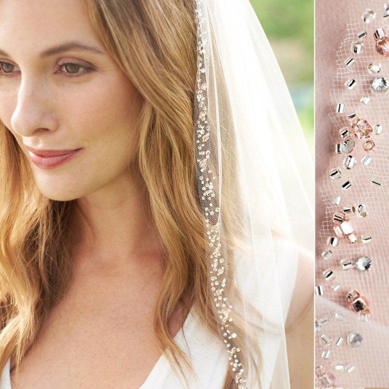 زفاف - Rose Gold Beaded Edge Wedding Veil, Blush Beaded Bridal Veil, Beaded Veil, Ivory Veil, Tulle Veil, Fingertip Veil, Bridal Accessory ~VB-5088
