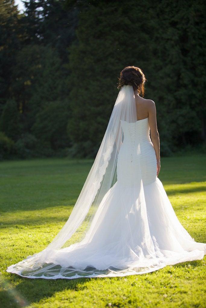 Свадьба - Alencon Lace Veil, cathedral veil, chapel length veil, ivory lace trim bridal veil, Floral alencon lace veil. Style #247