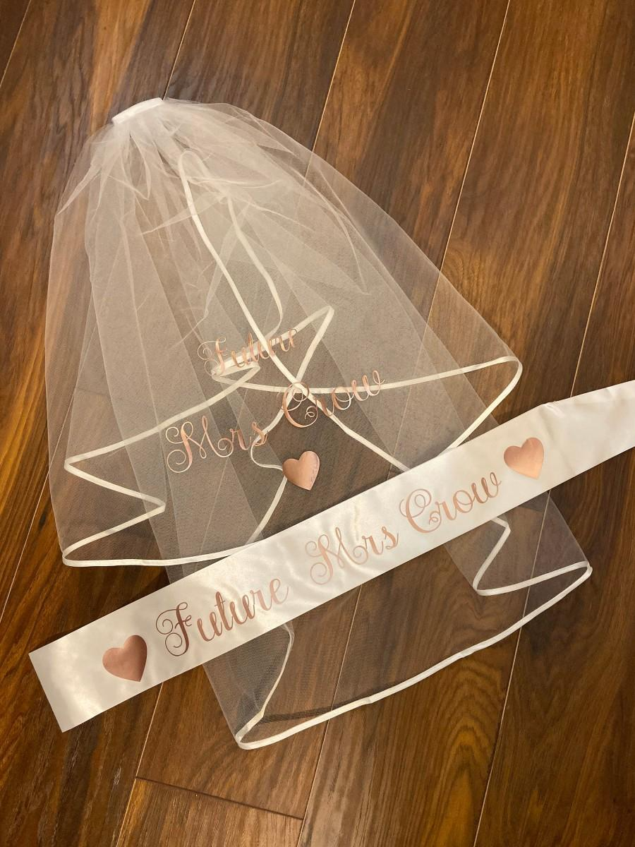 Wedding - Hen Party Bundle - Bride to be - personalised veil & sash