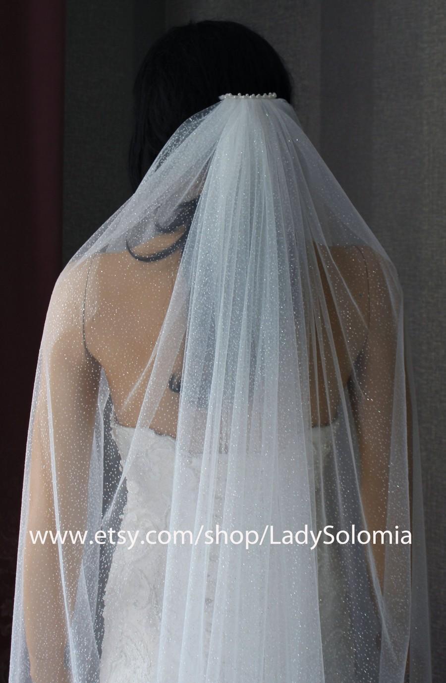 Wedding - Glitter wedding veil, Glitter Bridal Veil, Sparkle Veil, Tulle with glitter One tier veil, Raw Cut Edge veil, Cathedral long sparkling veil