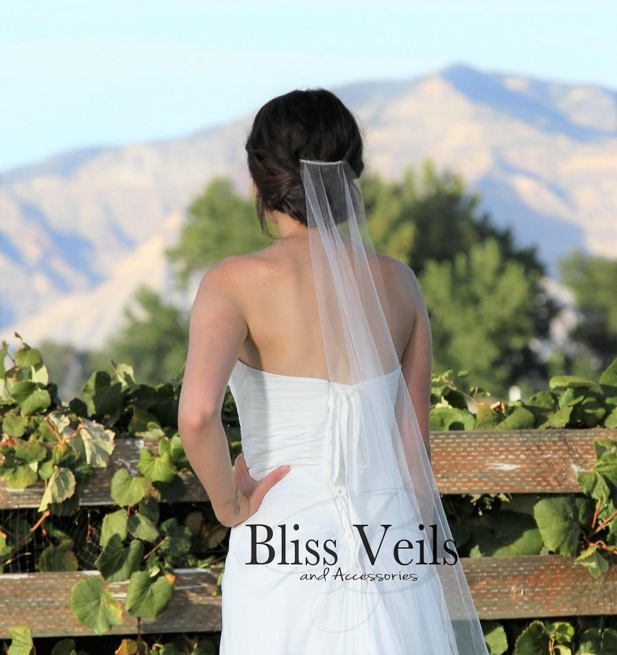 Wedding - Sheer Simple Wedding Veil - Barely There Raw Edge Veil - Available in 9 Lengths and 10 Colors!  Fast Shipping!