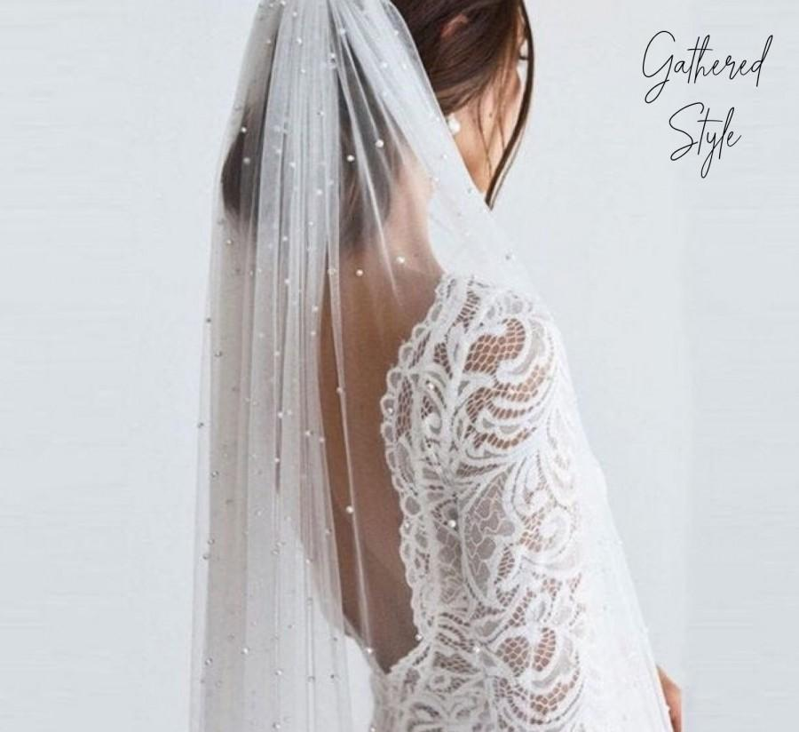 Wedding - Pearl Modern Cathedral Long Veil, Tulle Wedding Veil, Soft pearl wedding Bridal Veil, Simple veil, soft sheer wedding veil, long chapel veil