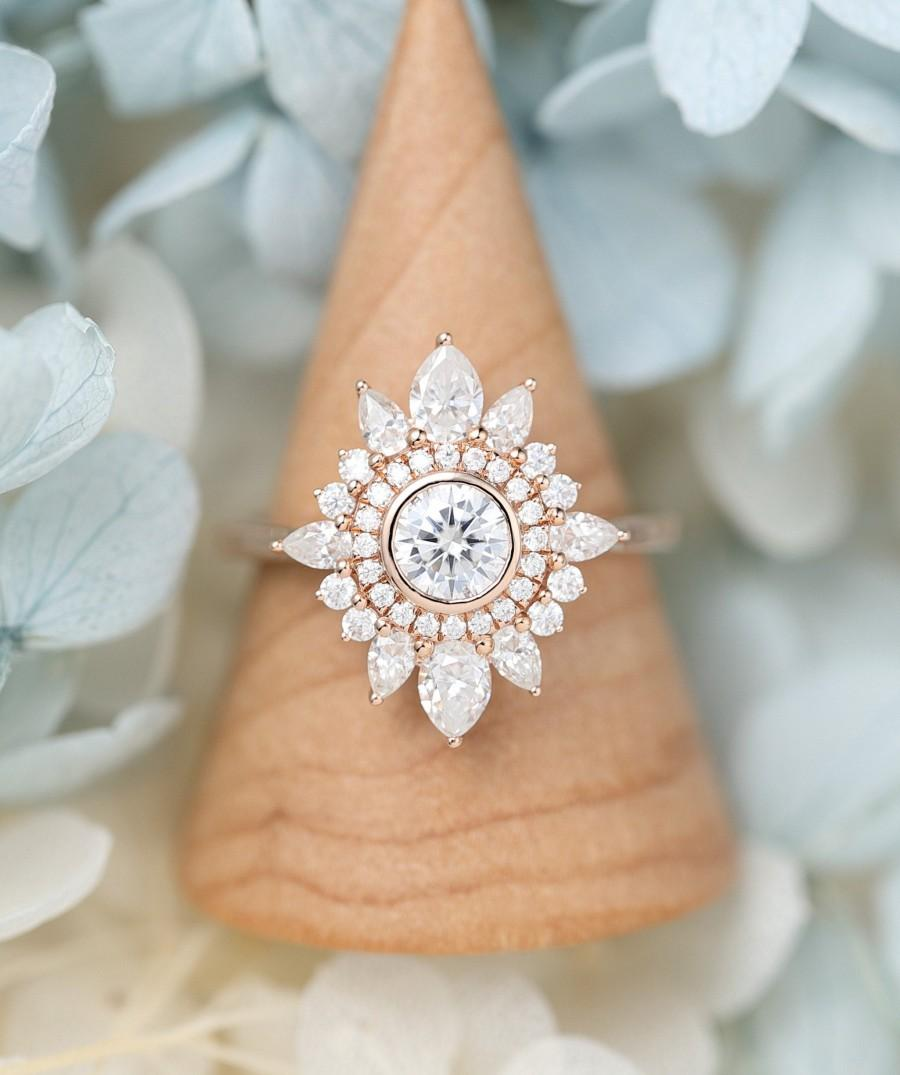Wedding - Moissanite engagement ring rose gold Halo pear cut Art Deco Antique Flower Unique Cluster engagement ring Vintage Anniversary gift for women