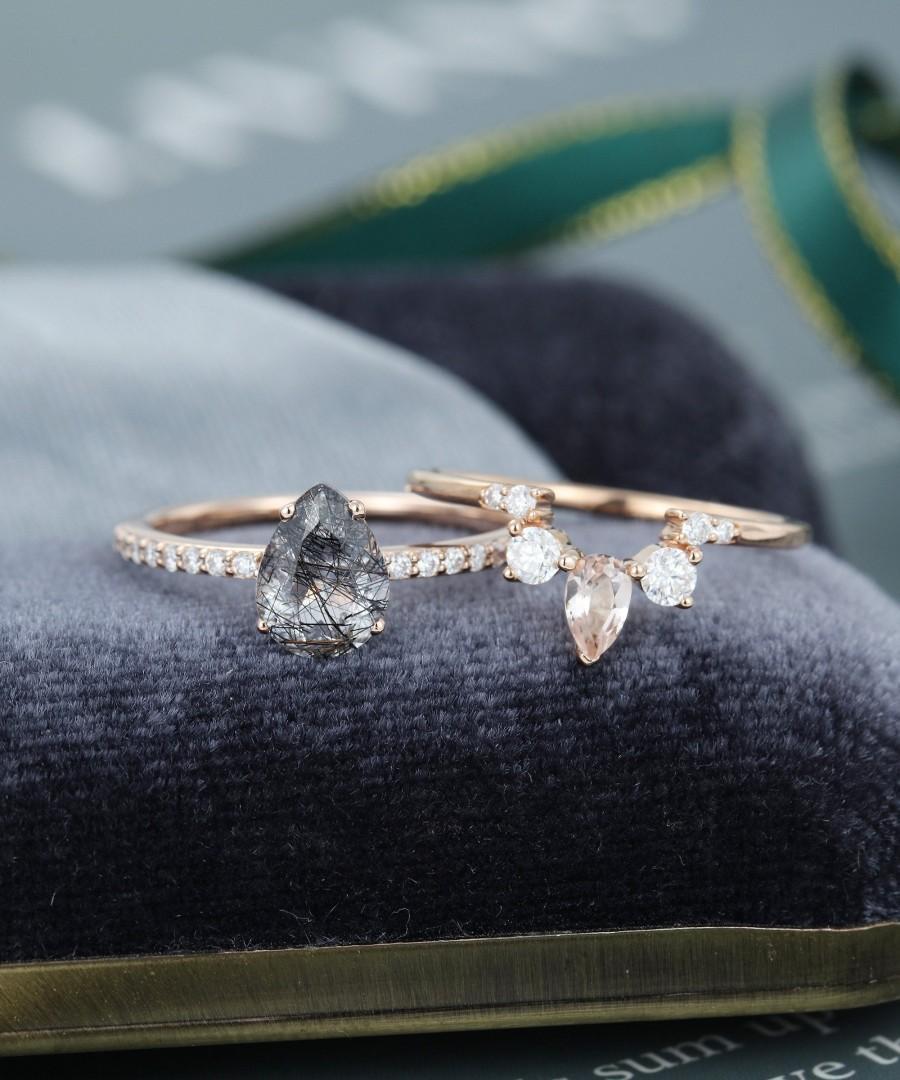 Wedding - Black Quartz Rutilated engagement ring vintage Rose Gold engagement ring for women pear shaped Morganite wedding Bridal Anniversary gift