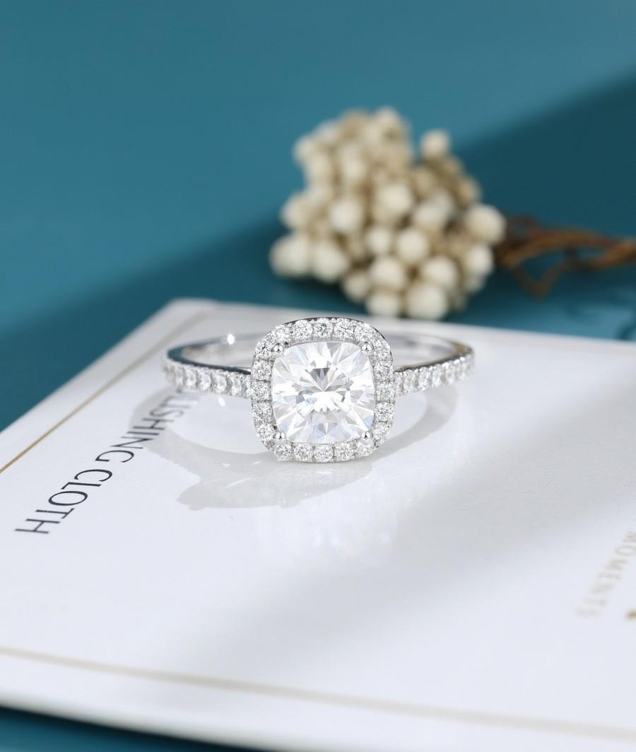 Wedding - Moissanite engagement ring women Cushion cut engagement ring Solid white gold Halo engagement Unique vintage wedding Bridal wedding ring