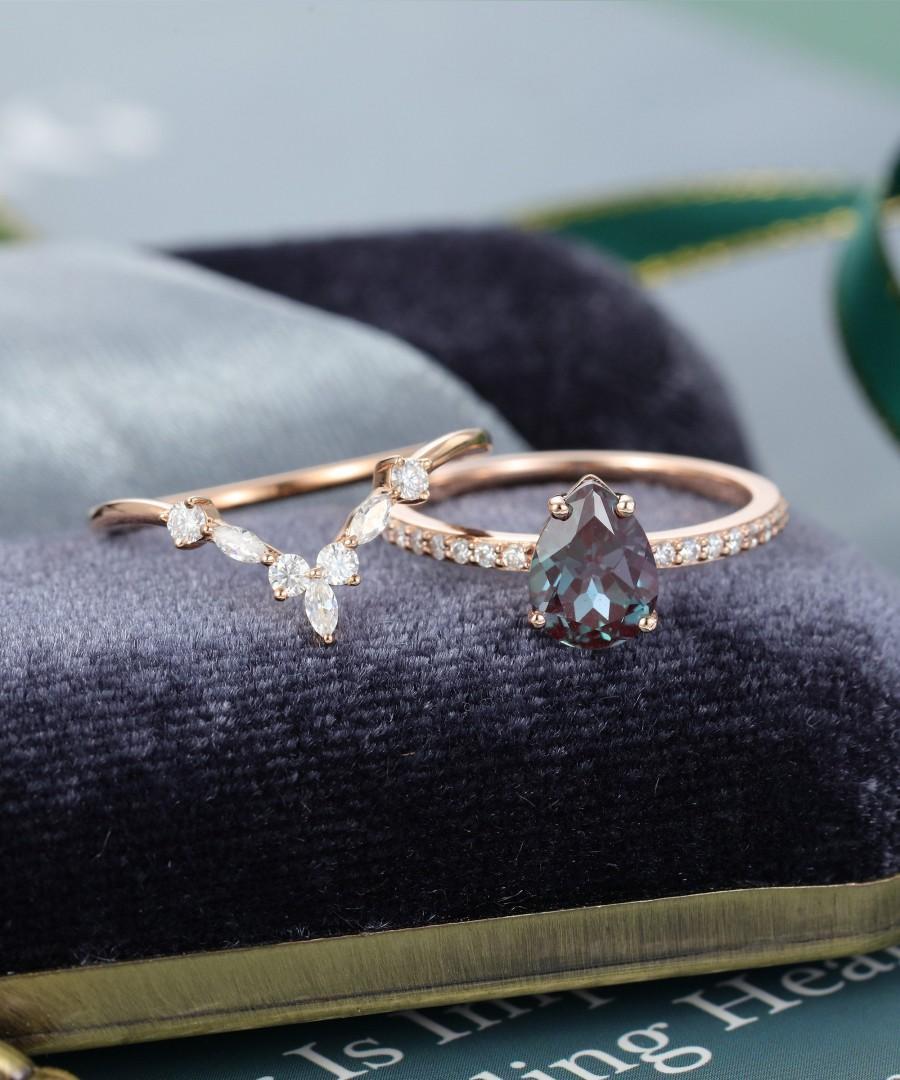 Wedding - Alexandrite engagement ring set vintage Rose gold engagement ring  Pear shaped Marquise cut Moissanite/Diamond wedding ring Bridal ring