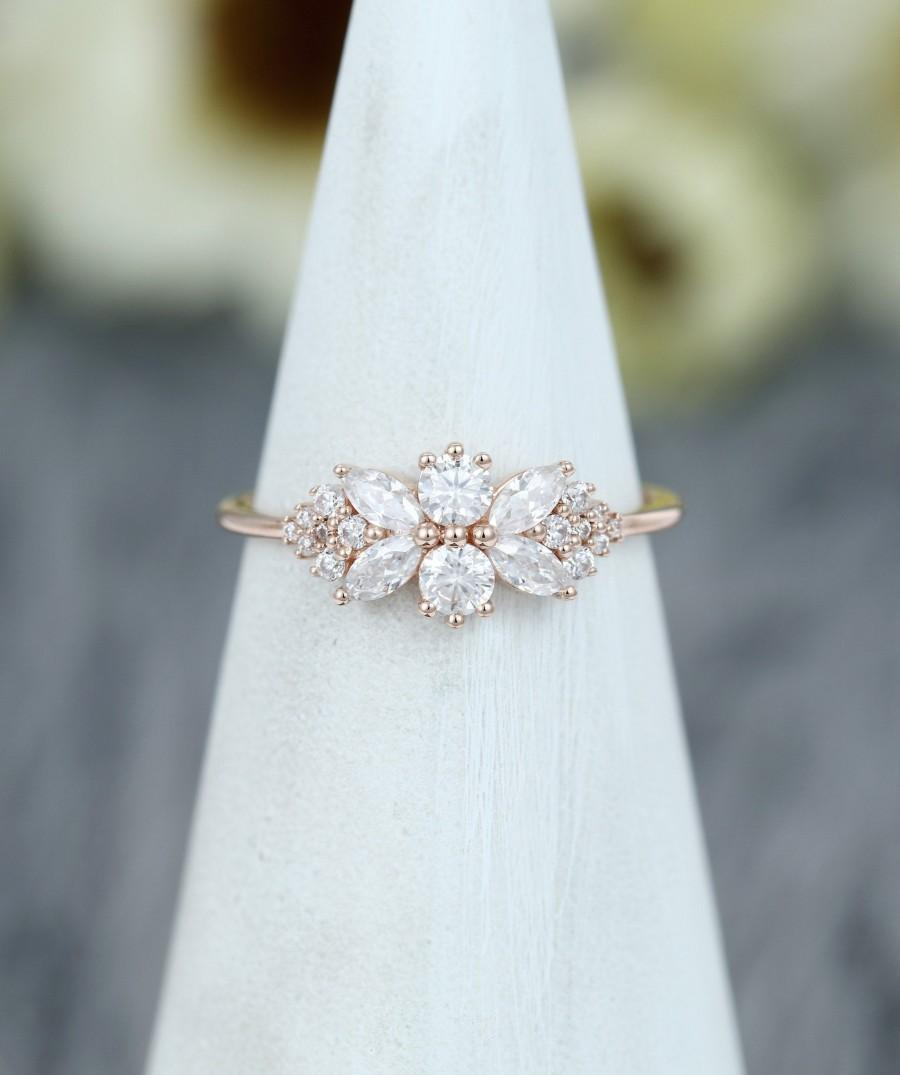 Wedding - Unique Cluster engagement ring rose gold vintage Marquise cut Moissanite Flower engagement ring for women wedding Bridal Promise simpleband