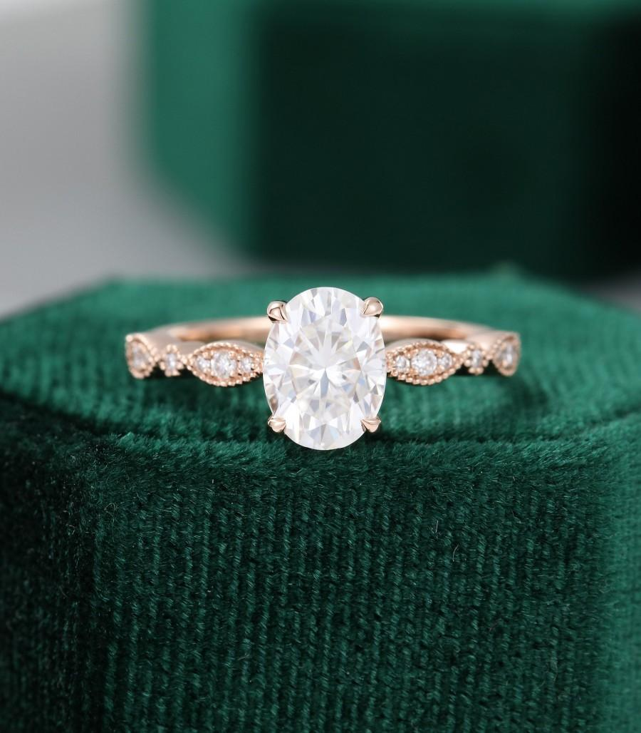 Oval Moissanite Engagement Ring Rose Gold Unique Vintage Engagement Ring For Women Antique Diamond Wedding Milgrain Bridal Anniversary Gift 2972119 Weddbook