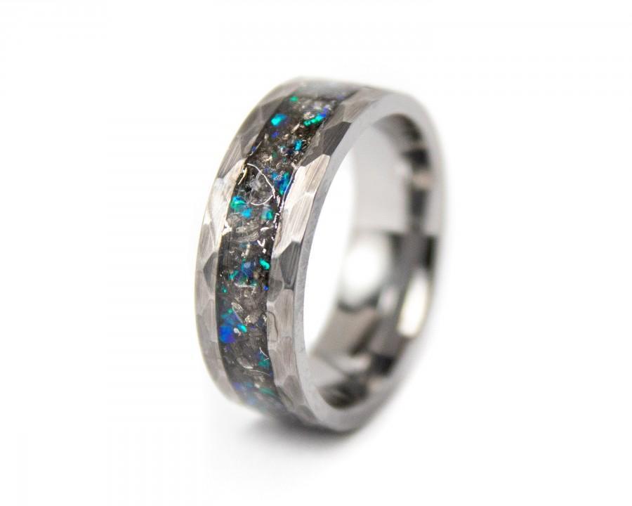 Mariage - Meteorite Ring, Tungsten Meteorite Opal Ring, Blue Meteorite Ring, Galaxy Ring, Hammered Tungsten