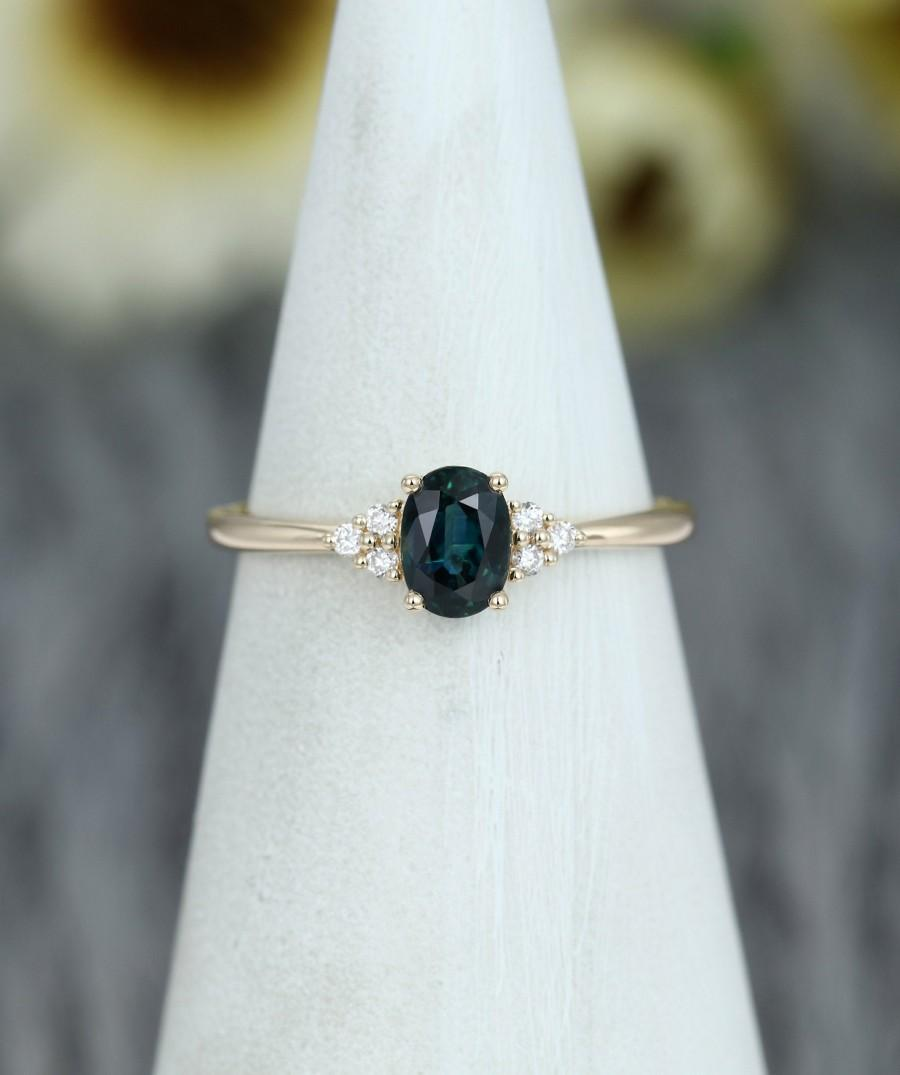 Wedding - Green Sapphire engagement ring vintage Marquise cut Diamond cluster ring Green Blue Sapphire Ring Rose gold engagement ring Bridal ring
