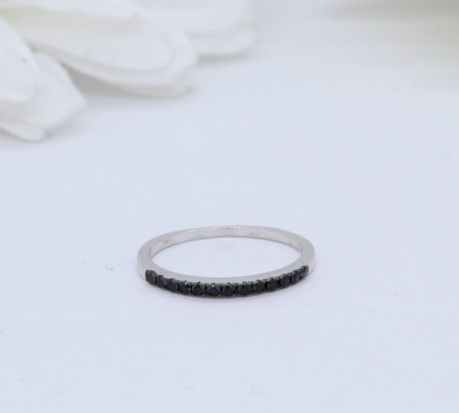 Wedding - 1.5mm Half Eternity Art Deco Wedding Band Ring Solid 925 Sterling Silver Round Simulated Black Diamond CZ