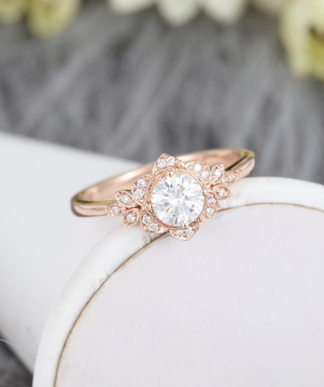 Wedding - Moissanite engagement ring vintage Diamond cluster ring rose gold engagement ring flower ring Unique Flower wedding Bridal Anniversary ring