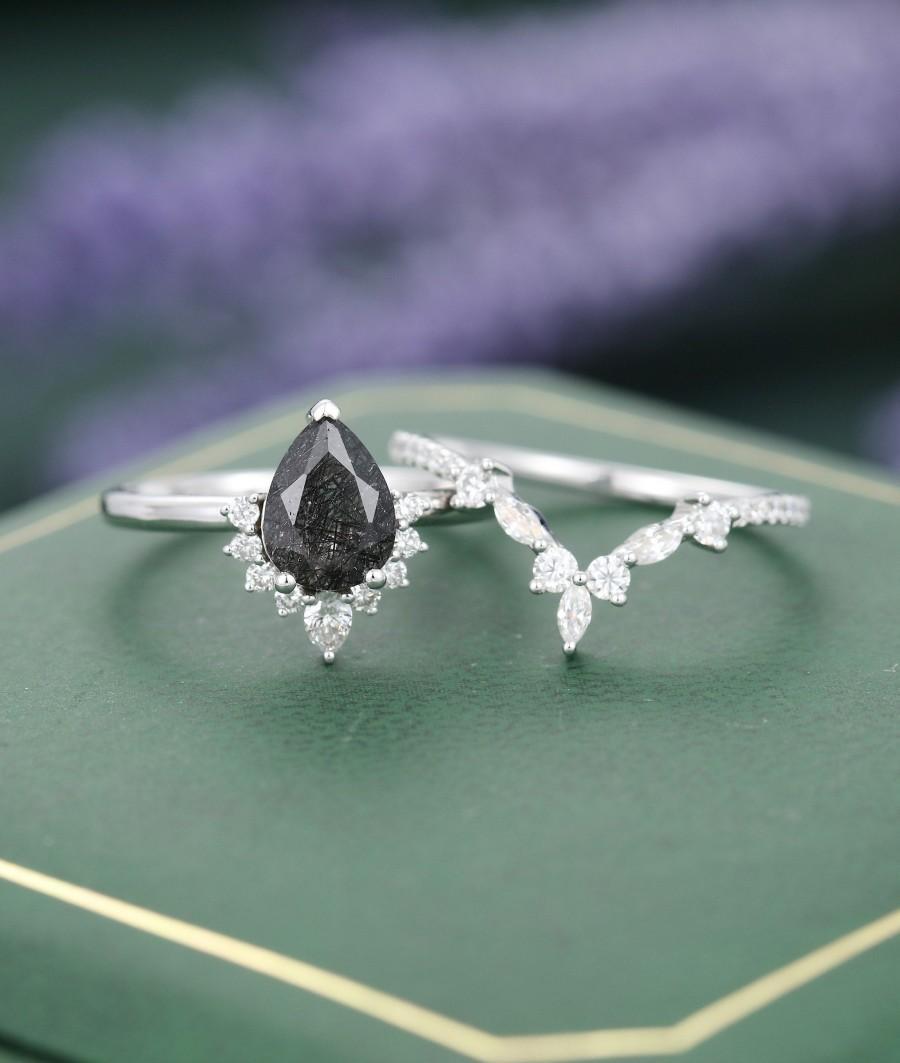 Wedding - Black Rutilated Quartz ring set black engagement ring set black quartz engagement ring quartz ring vintage White Gold Pear Bridal set