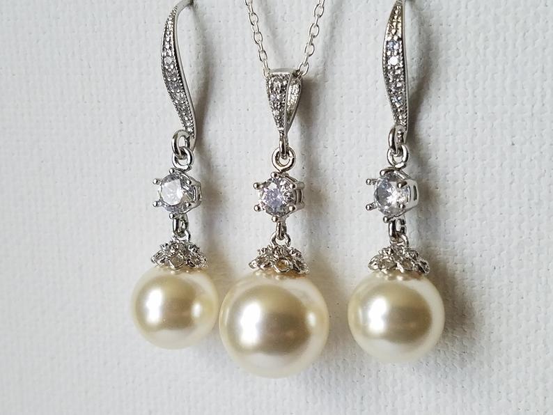 Wedding - Pearl Bridal Jewelry Set, Swarovski Ivory Pearl Earrings&Necklace Set, Wedding Jewelry Set, Pearl Chandelier Earrings, Large Pearl Pendant