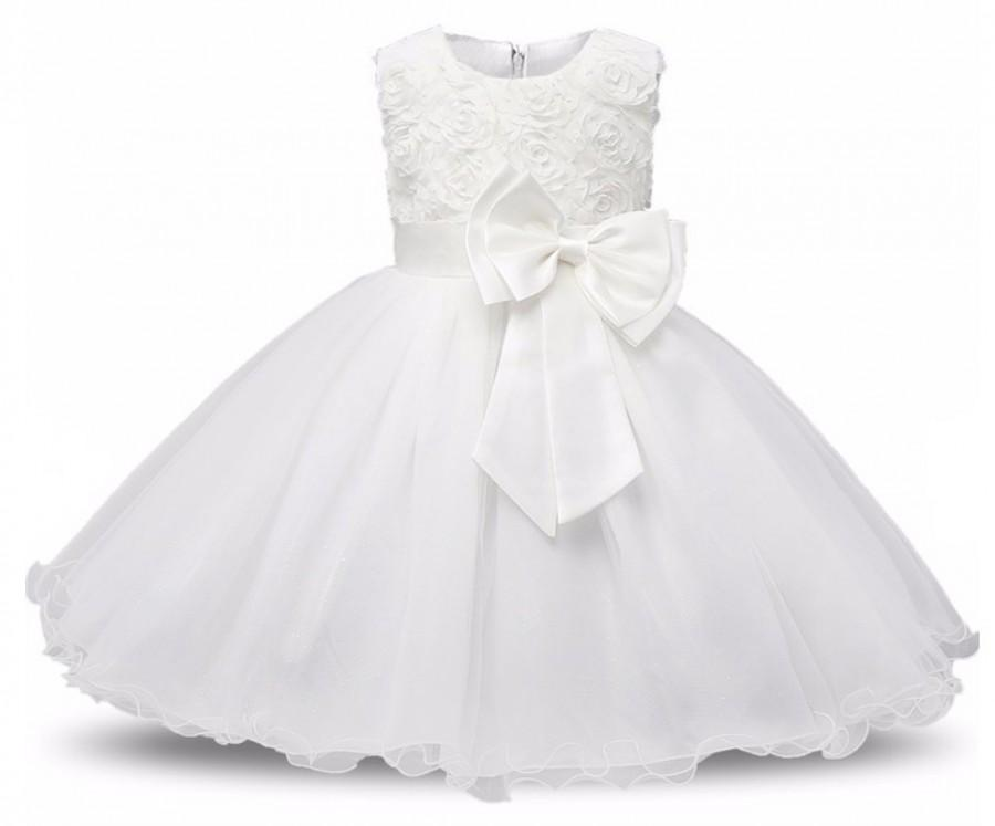 Wedding - Christening White Gown Lace Baptism Gown Communion Dress Gowns Baby Infant Flower Girl Dress Newborn Gown