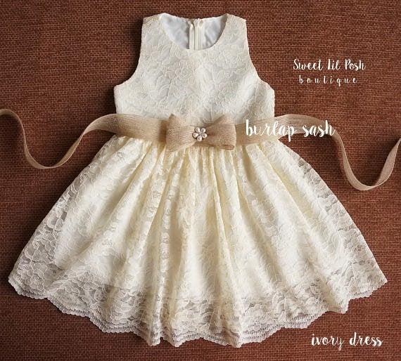 Wedding - ivory lace girl dress, flower girl dress, lace girl dress, junior bridesmaid, rustic flower girl, country girl dress, baby lace dress