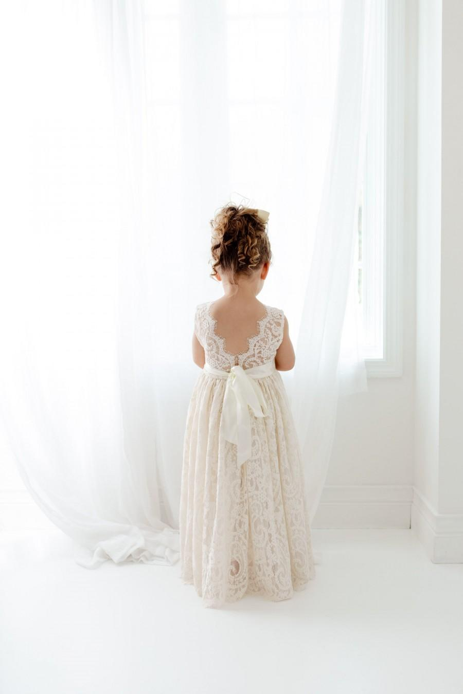 Wedding - Boho Lace Flower Girl Dress, Cream Tulle Wedding Dress, Beach Wedding Dress, Rustic Bohemian Dresses