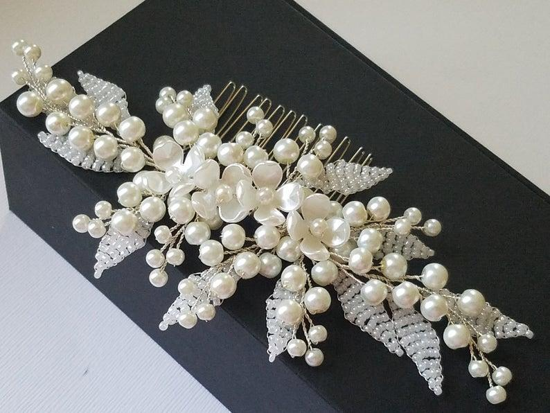 Wedding - Pearl Bridal Hair Comb, Wedding Ivory Pearl Headpiece, Pearl Hair Jewelry, Floral Hair Piece, Wedding Pearl Comb, Bridal Hair Accessories