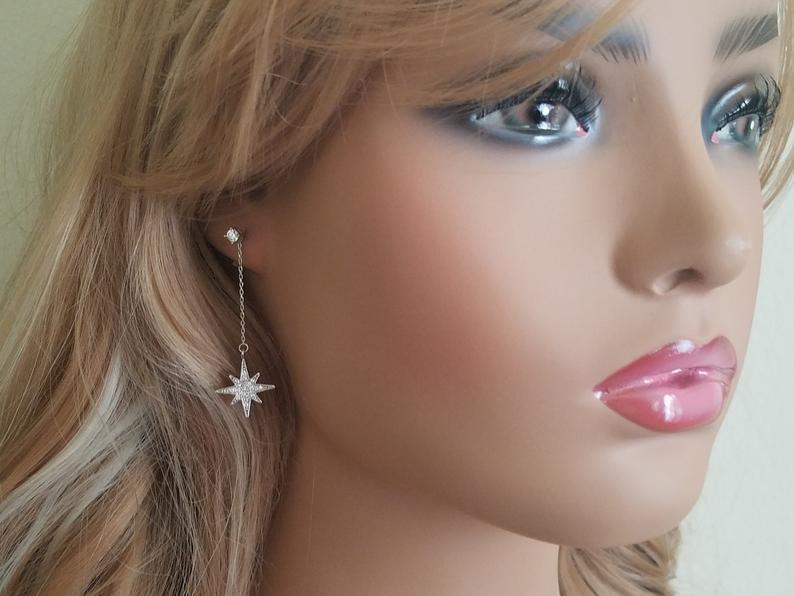Mariage - North Star Earrings, Silver Star Dangle Earrings, Long Star Earrings, Star Chain Earrings, Starburst Earrings Bridal Earring Wedding Jewelry