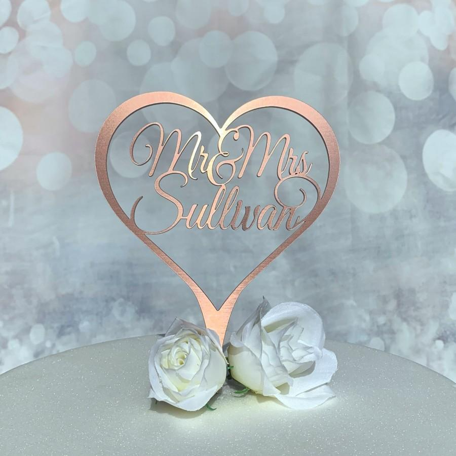 Mariage - Wedding Cake Topper. Personalised Heart Cake Topper for Wedding,Anniversary,Special Occassion. Rose Gold,Gold,Silver Cake Decoration.