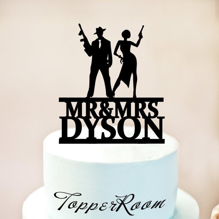Wedding - Bonnie and Clyde Cake Topper,Gun wedding Cake Topper,Gatsby Cake Topper,Gatsby Wedding Cake Topper,Mobsters or Shooters Cake Topper 1261