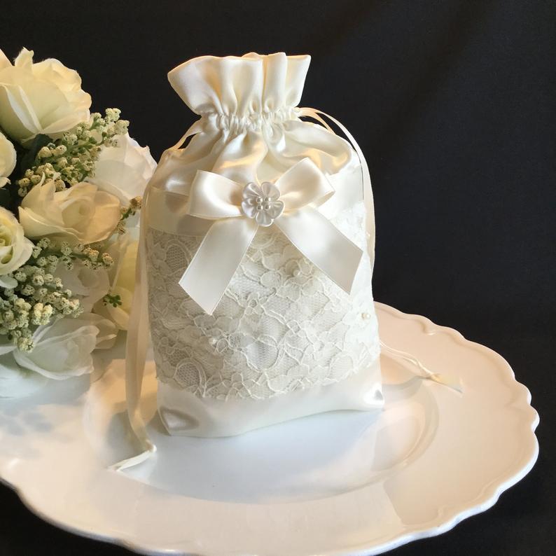 Wedding - Wedding dollar dance bag, wedding Money bag, ivory dollar dance bag, bridal money bag, wedding card bag, ivory money bag, bridal purse