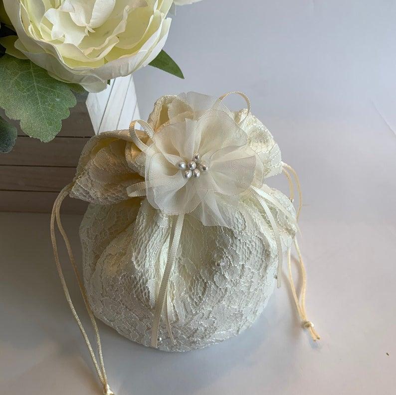 Wedding - Ivory bridal purse, wedding bridal bag, bride makeup bag, wedding money bag, ivory lace bridal clutch purse