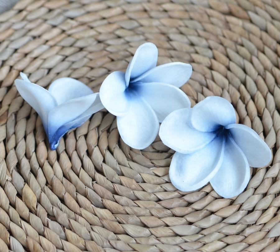 Wedding - Navy Blue Center Plumerias Natural Real Touch Flowers frangipani heads DIY cake Toppers, Wedding Decorations
