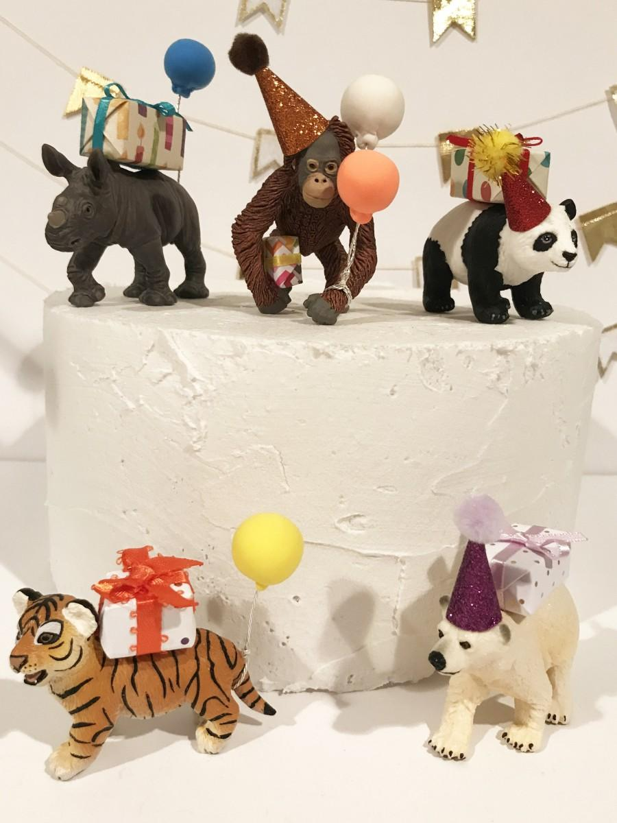 Wedding - Birthday Baby Safari Animal Cake Topper, Zoo Cake Topper- Panda Cub, Orangutan Baby, White Rhino Baby, Bengal Tiger Cub, Polar Bear Cub