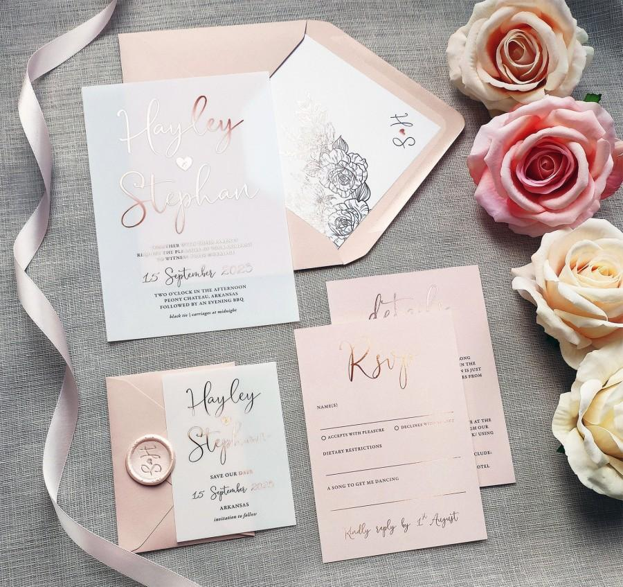 Wedding - Pearl - Foil Vellum Wedding Invitations & Save the date or change the date. Blush pink foil wedding invites on Vellum or card.