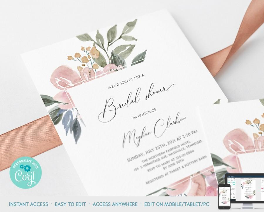 Wedding - Blush Pink Floral Bridal Shower Invitation Card Printable Template, Wedding Bride Shower Printable Template Instant Download Corjl : IDB025W